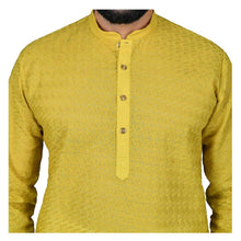 Load image into Gallery viewer, Ajay Arvindbhai Khatri Men's Pure Cotton Regular Chikan embroidery kurta Yellow Colour