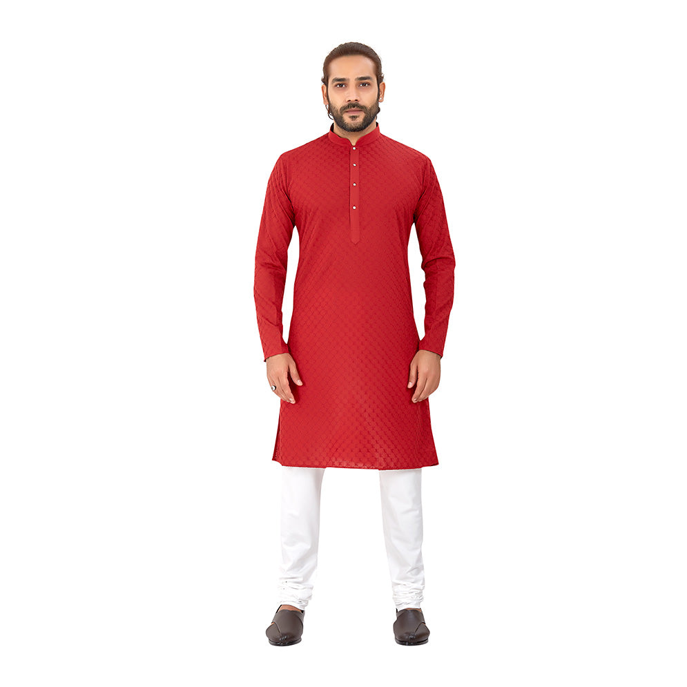 Men's pure cotton straight Lucknowi chikankari Kurta Maroon Colour
