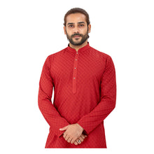 Load image into Gallery viewer, Men's pure cotton straight Lucknowi chikankari Kurta Maroon Colour