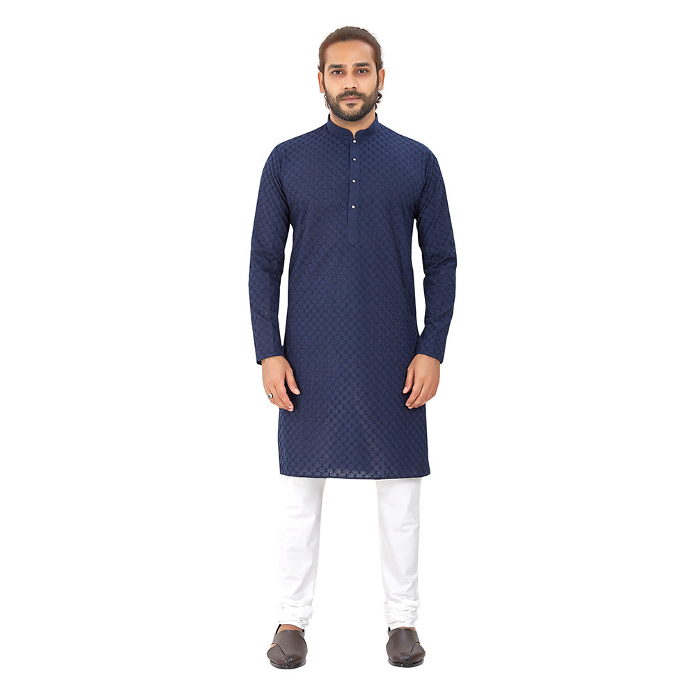 Men's pure cotton straight Lucknowi chikankari Kurta Navy Blue Colour