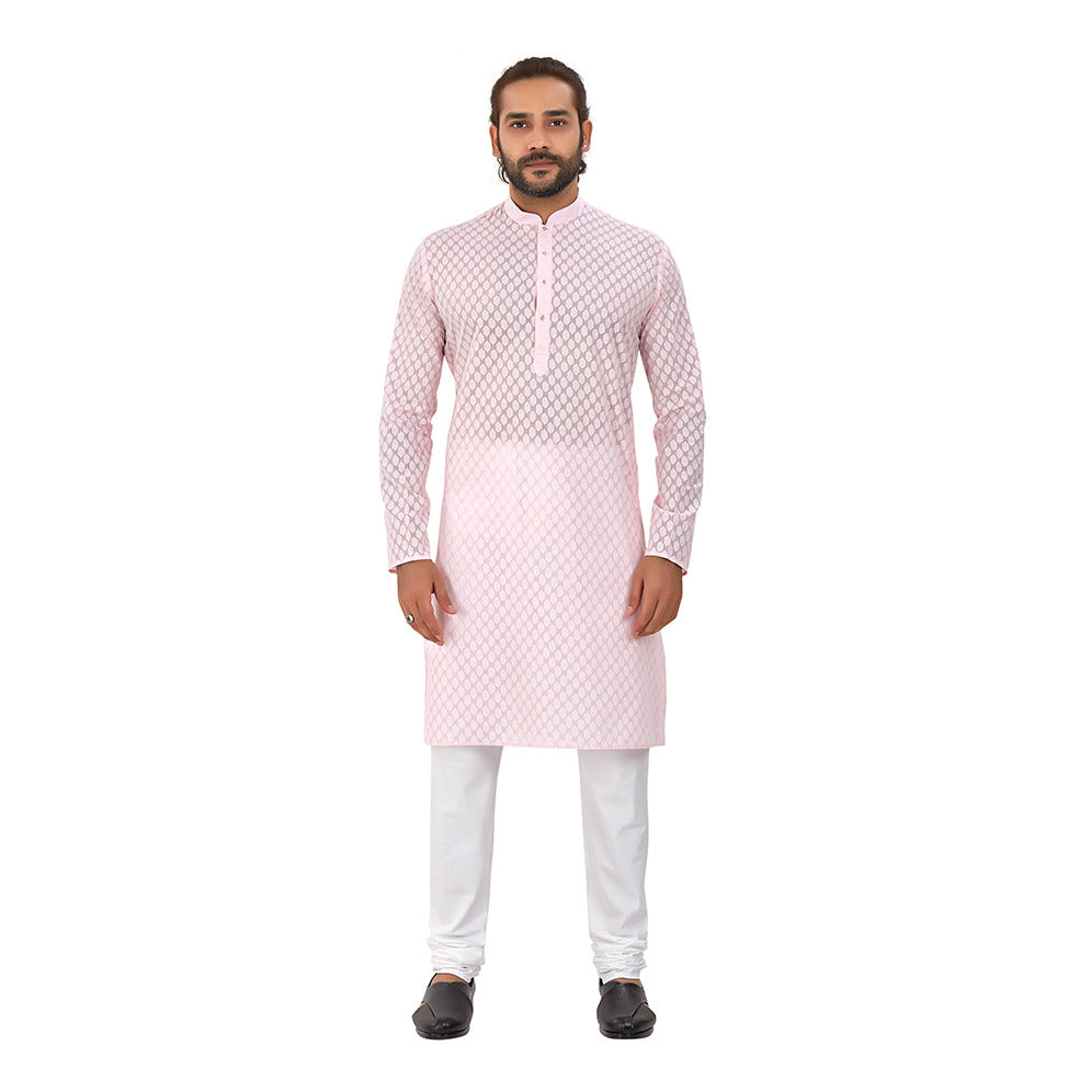 Ajay Arvindbhai Khatri Men's Pure Cotton Regular Brasso Kurta Light Pink Colour