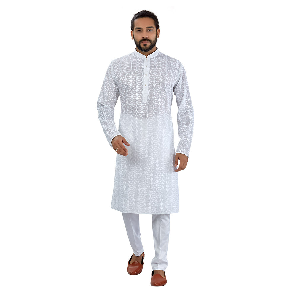 Ajay Arvindbhai Khatri Men's Pure Cotton Regular Chikankari embriodery kurta White Colour