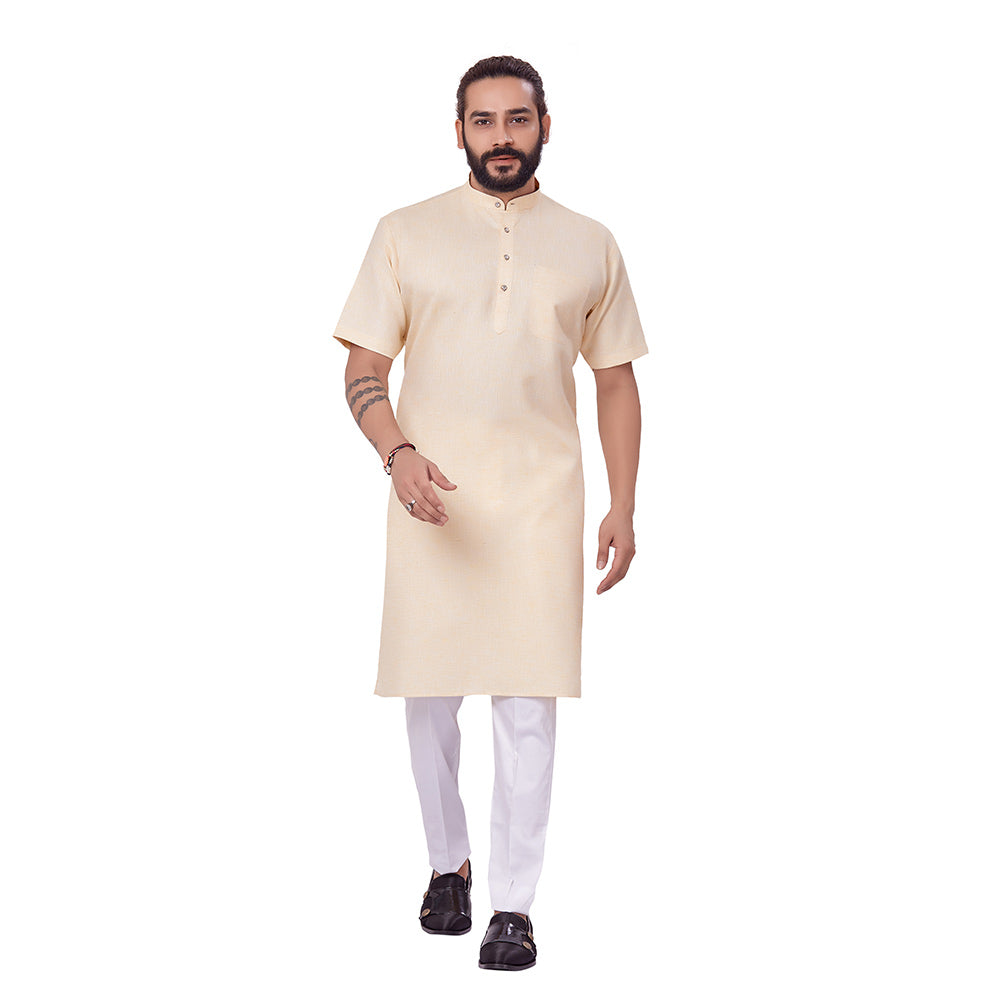 Ajay Arvindbhai Khatri Men's Linen Straight Modi Style Kurta Lemon Yellow Colour