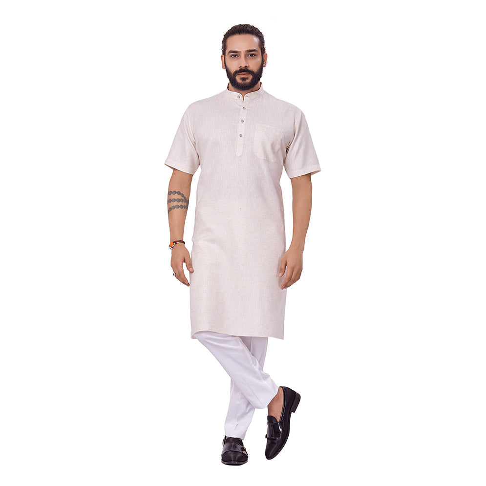 Ajay Arvindbhai Khatri Men's Linen Straight Modi Style Kurta Cream Colour