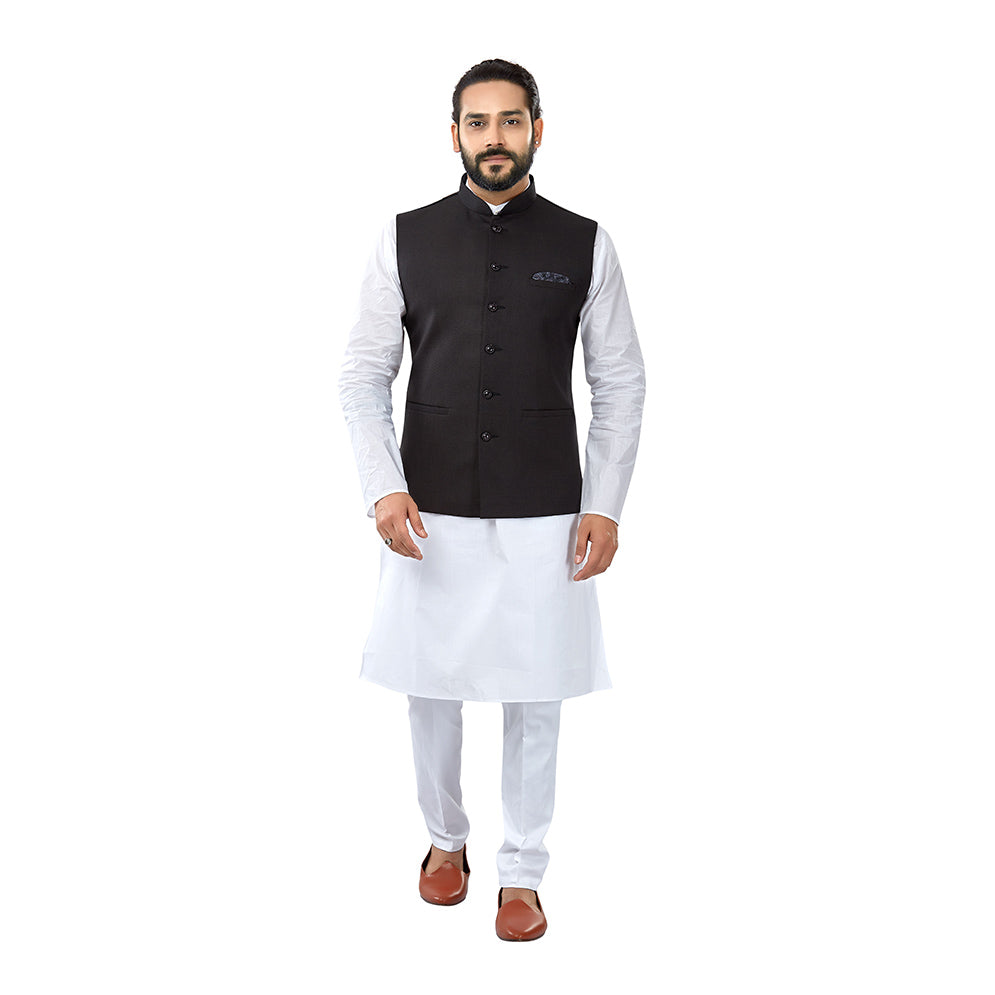 Ajay Arvindbhai Khatri Men's Cotton Straight Kurta Pyjama Set & Jute Nehru Jacket Black Colour