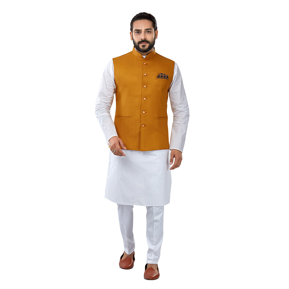 Ajay Arvindbhai Khatri Men's Cotton Straight Kurta Pyjama Set & Jute Nehru Jacket Orange Colour