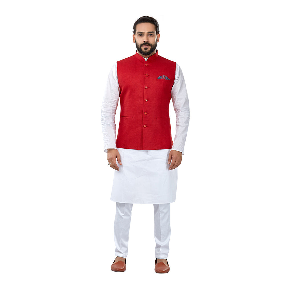 Ajay Arvindbhai Khatri Men's Cotton Straight Kurta Pyjama Set & Jute Nehru Jacket Red Colour