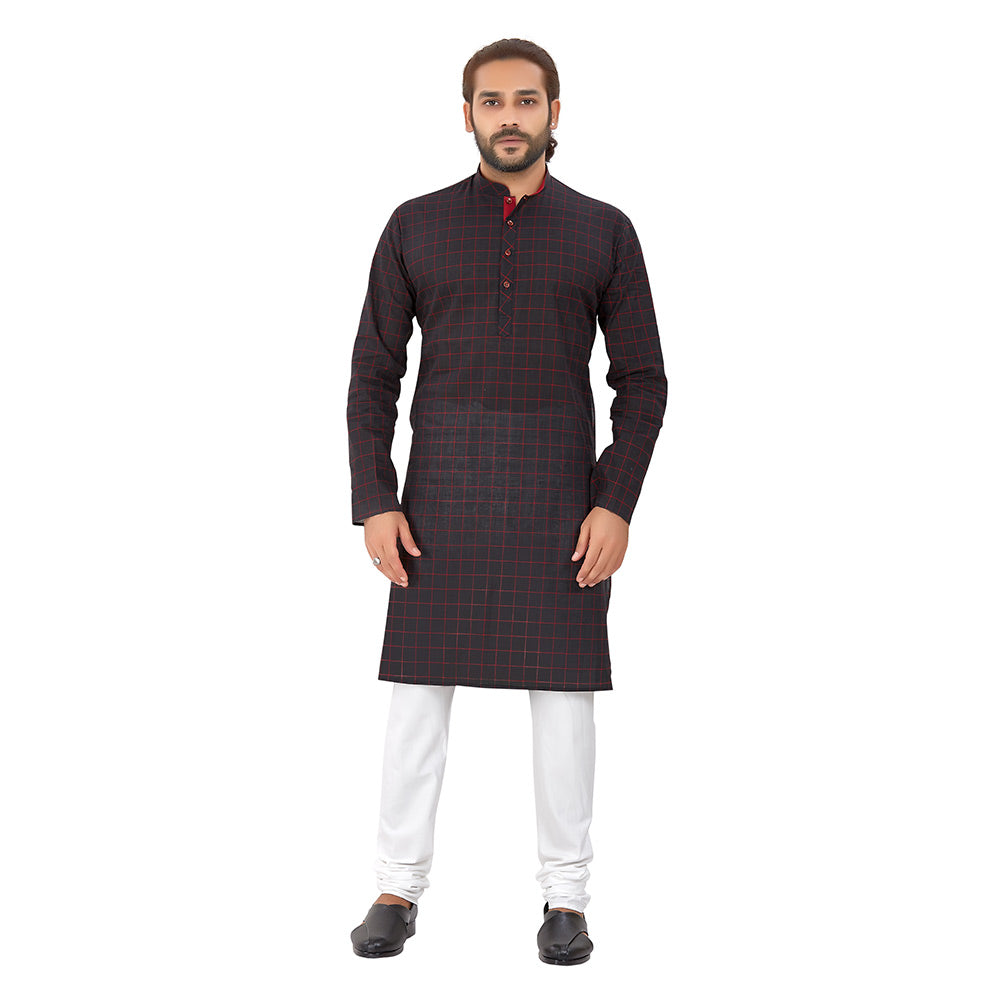 Men's Pure Cotton Chex Straight fit Black_Red colour Kurta