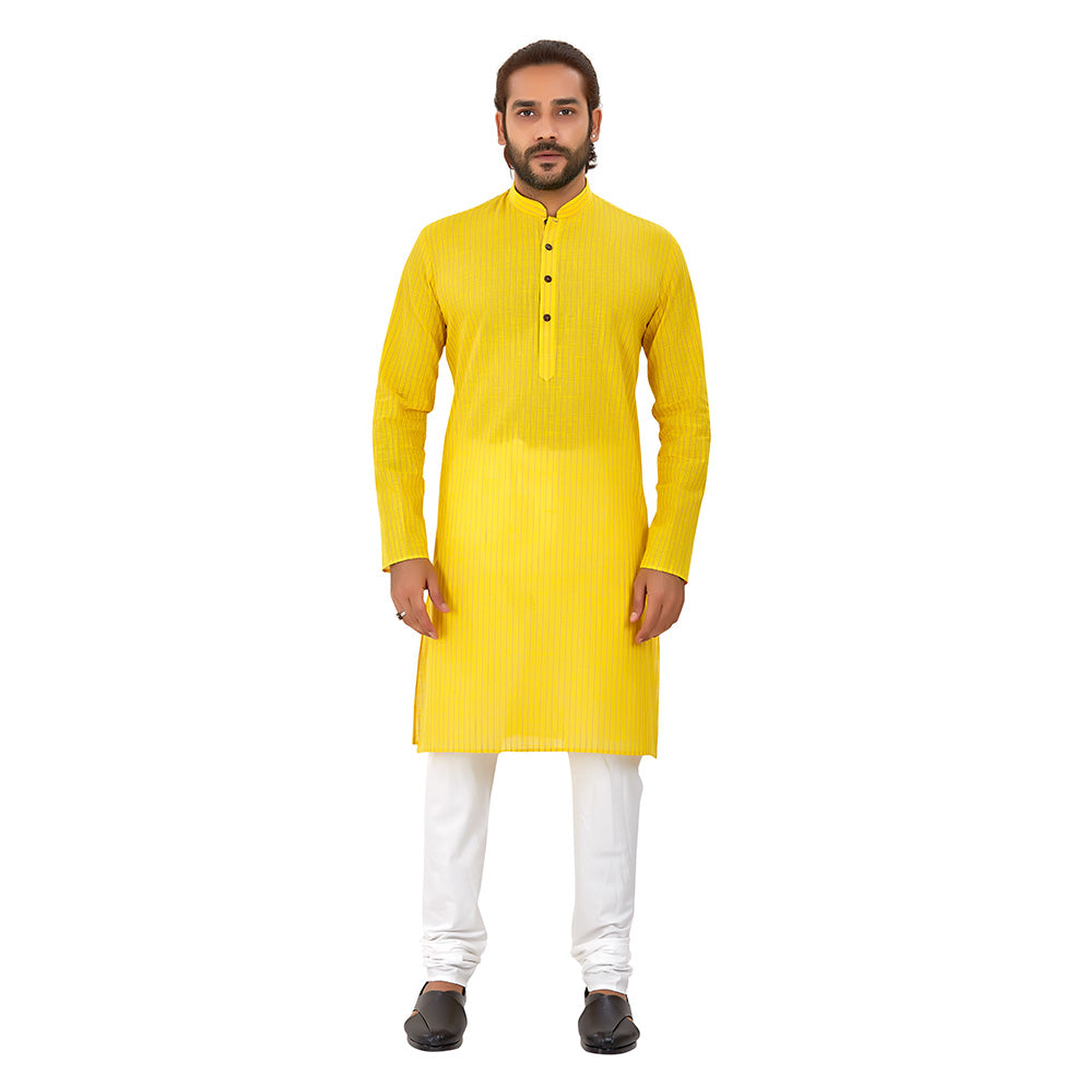 Ajay Arvindbhai Khatri Men's Pure Cotton Regular Linning Kurta Yellow Colour