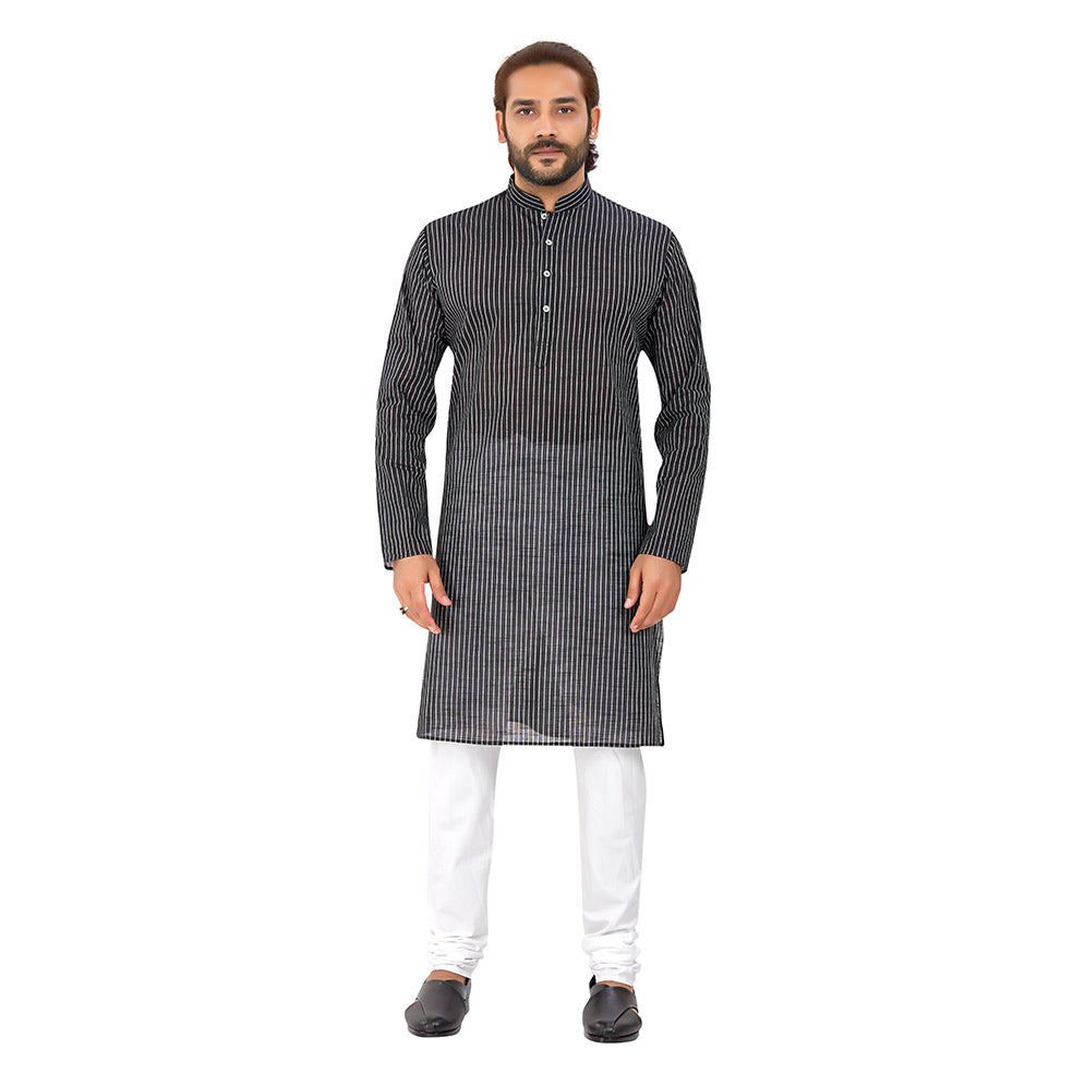 Ajay Arvindbhai Khatri Men's Pure Cotton Regular Linning Kurta Black Colour
