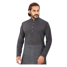 Load image into Gallery viewer, Ajay Arvindbhai Khatri Men's Pure Cotton Regular Linning Kurta Black Colour