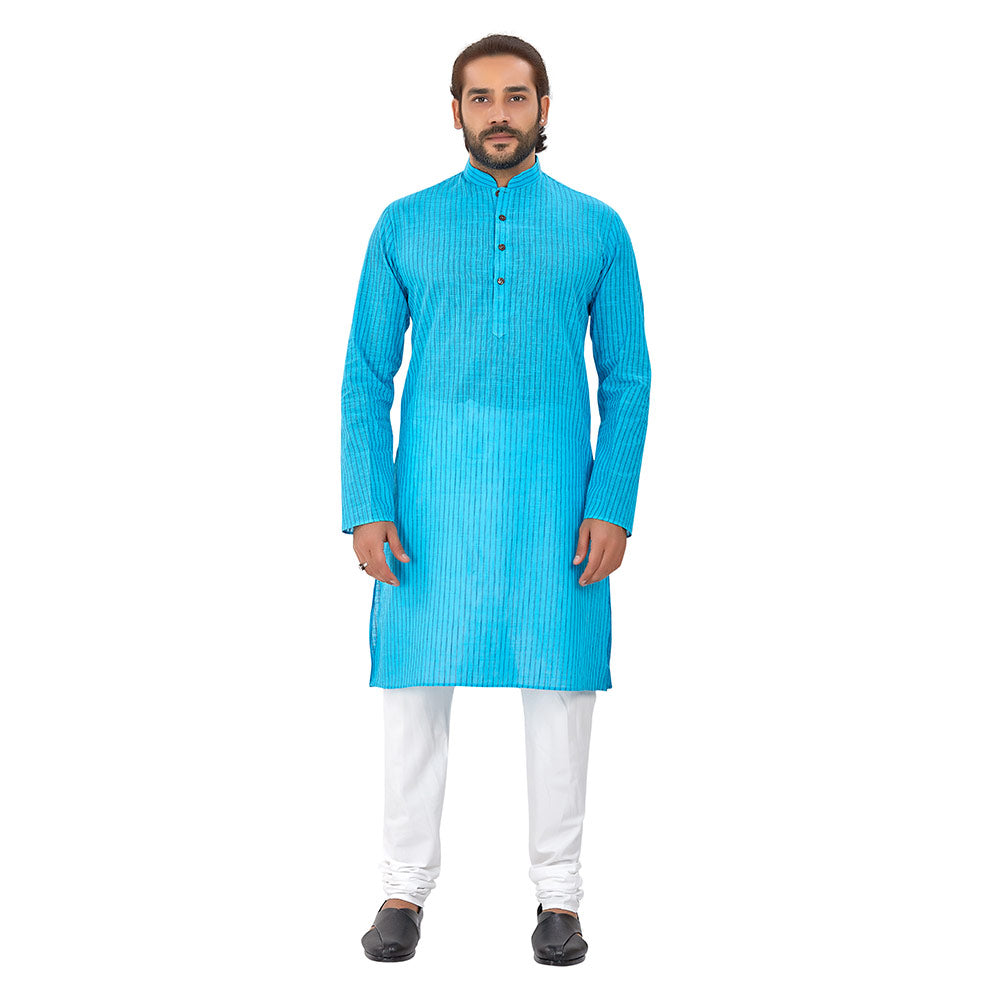 Ajay Arvindbhai Khatri Men's Pure Cotton Regular Linning Kurta Sky_Blue Colour
