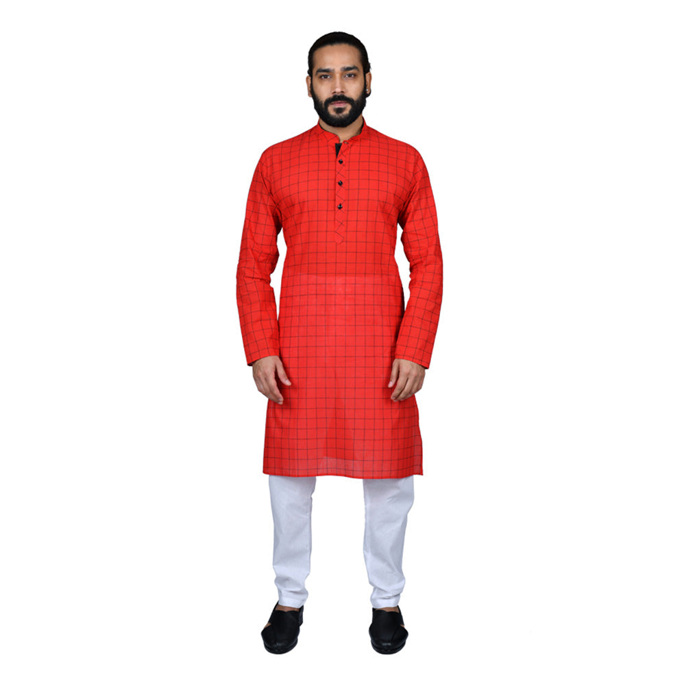 Ajay Arvindbhai Khatri Men's Pure Cotton Regular Checks Kurta Red Colour