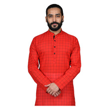 Load image into Gallery viewer, Ajay Arvindbhai Khatri Men's Pure Cotton Regular Checks Kurta Red Colour