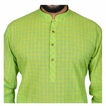 Load image into Gallery viewer, Ajay Arvindbhai Khatri Men's Pure Cotton Regular Checks Kurta Parrot_Green Colour