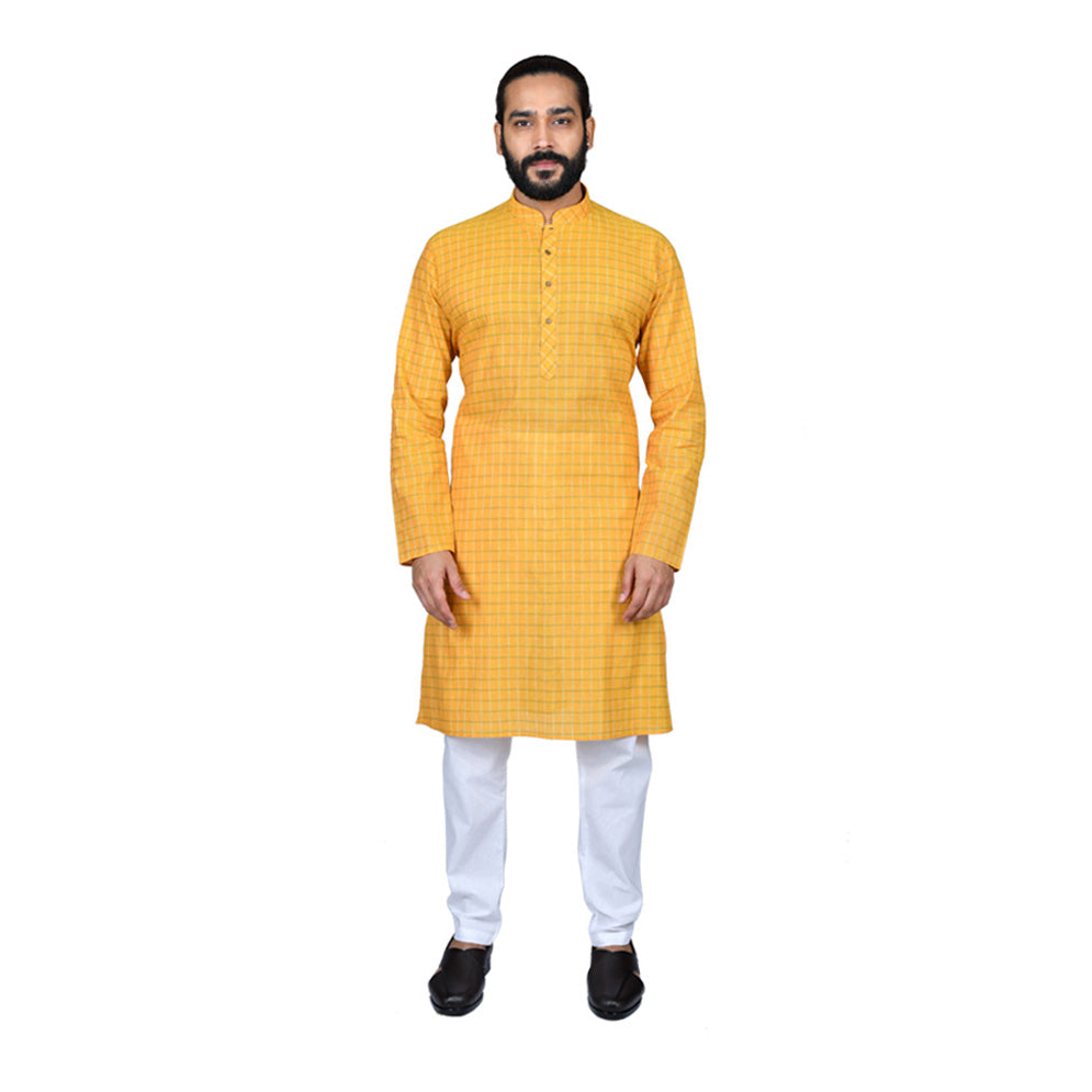 Ajay Arvindbhai Khatri Men's Pure Cotton Regular Checks Kurta Yellow Colour
