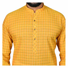 Load image into Gallery viewer, Ajay Arvindbhai Khatri Men's Pure Cotton Regular Checks Kurta Yellow Colour