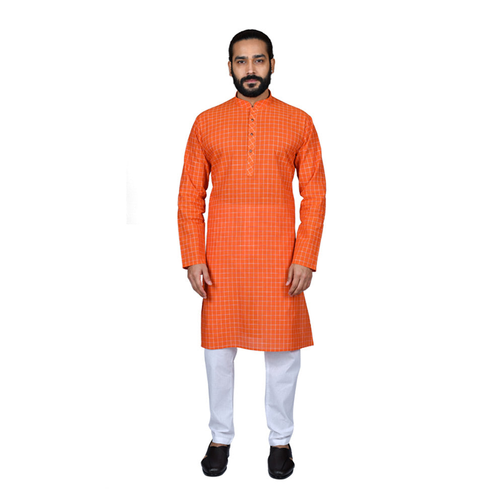 Ajay Arvindbhai Khatri Men's Pure Cotton Regular Checks Kurta Light_Orange Colour
