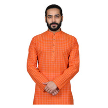 Load image into Gallery viewer, Ajay Arvindbhai Khatri Men's Pure Cotton Regular Checks Kurta Light_Orange Colour