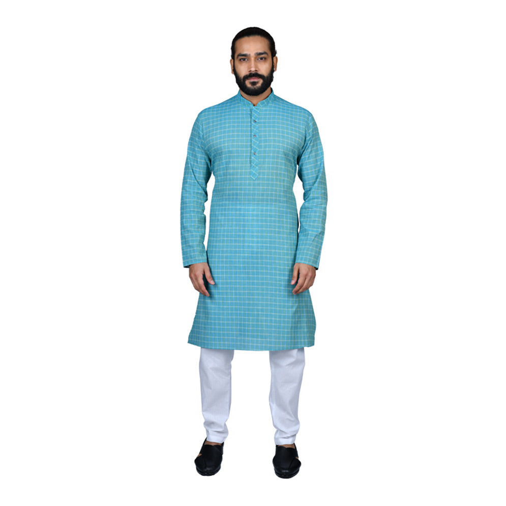 Ajay Arvindbhai Khatri Men's Pure Cotton Regular Checks Kurta Firozi Colour