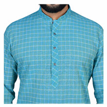 Load image into Gallery viewer, Ajay Arvindbhai Khatri Men's Pure Cotton Regular Checks Kurta Firozi Colour