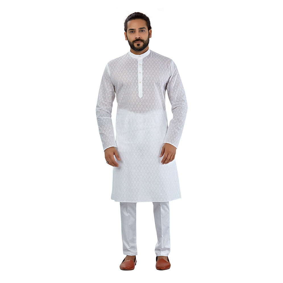 Ajay Arvindbhai Khatri Men's Pure Cotton Regular katri design kurta White Colour