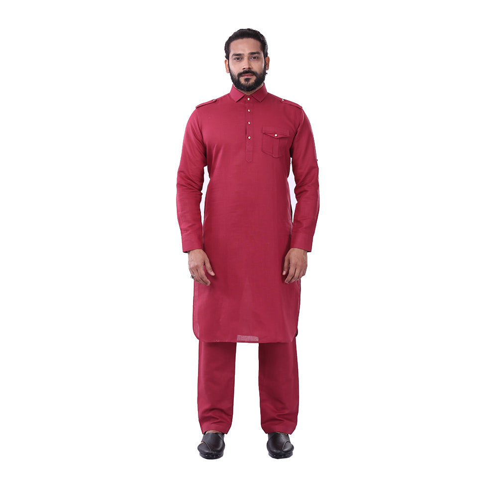 Ajay Arvindbhai Khatri Men's Pure Cotton Regular Pathani Suit Set MAROON Colour