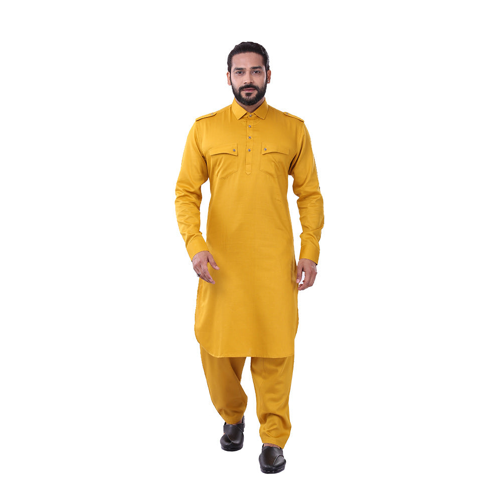 Ajay Arvindbhai Khatri Men's Pure Cotton Regular Pathani Suit Set MUSTARD Colour