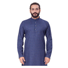 Load image into Gallery viewer, Ajay Arvindbhai Khatri Men's Polyster Cotton Straight Checkered Style Kurta Navy Blue Colour