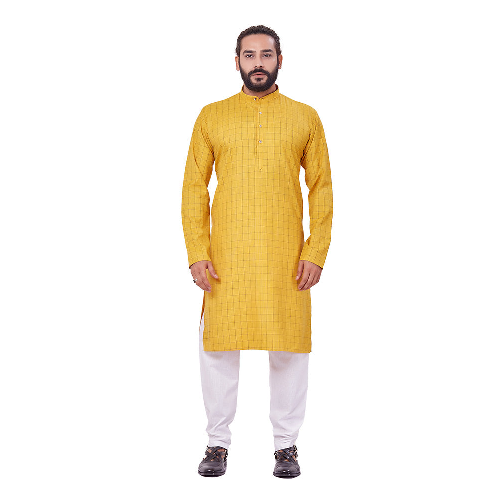 Ajay Arvindbhai Khatri Men's Polyster Cotton Straight Checkered Style Kurta Yellow Colour