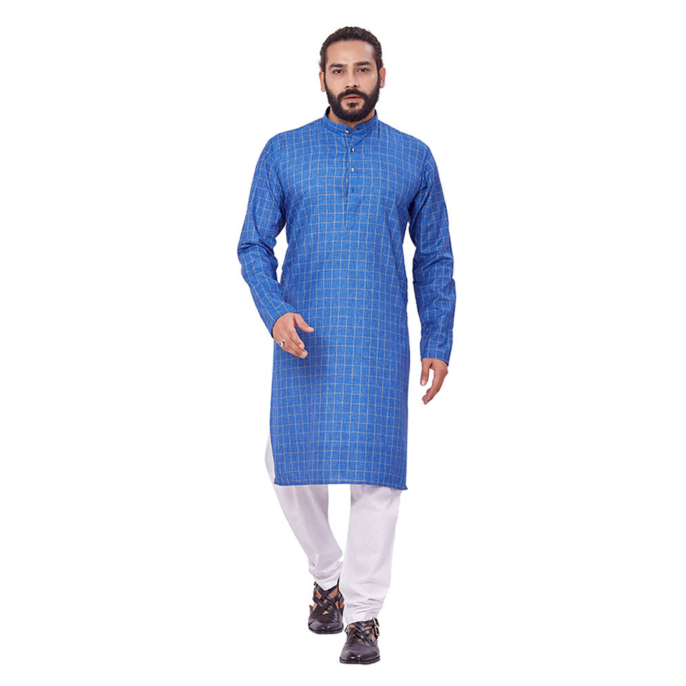 Ajay Arvindbhai Khatri Men's Polyster Cotton Straight Checkered Style Kurta Royal Blue Colour