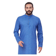 Load image into Gallery viewer, Ajay Arvindbhai Khatri Men's Polyster Cotton Straight Checkered Style Kurta Royal Blue Colour