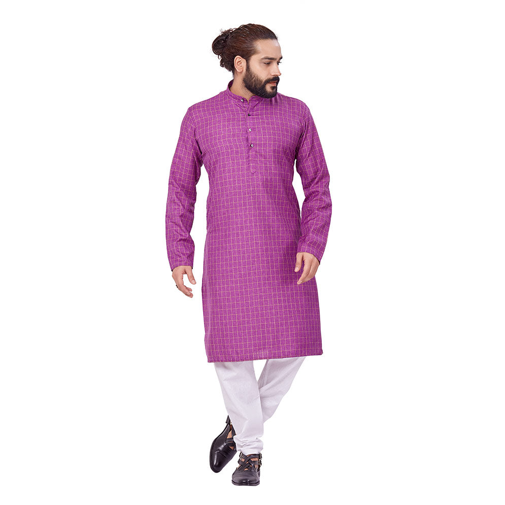 Ajay Arvindbhai Khatri Men's Polyster Cotton Straight Checkered Style Kurta Purple Colour