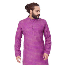 Load image into Gallery viewer, Ajay Arvindbhai Khatri Men's Polyster Cotton Straight Checkered Style Kurta Purple Colour