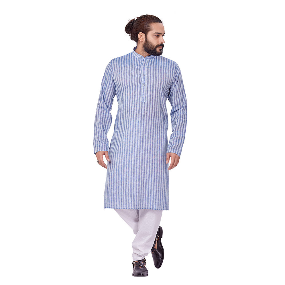 Ajay Arvindbhai Khatri Men's Cotton Straight Linning Kurta Light Blue Colour