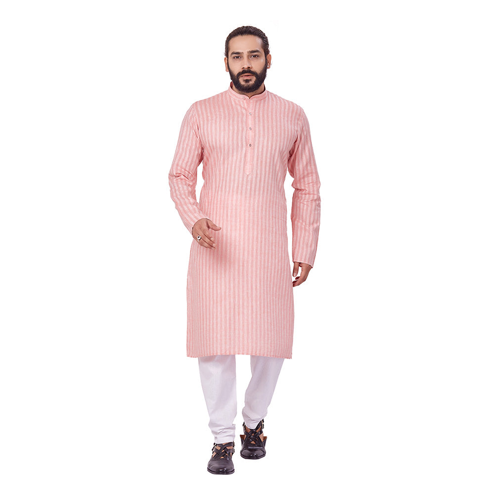 Ajay Arvindbhai Khatri Men's Cotton Straight Linning Kurta Peach Colour