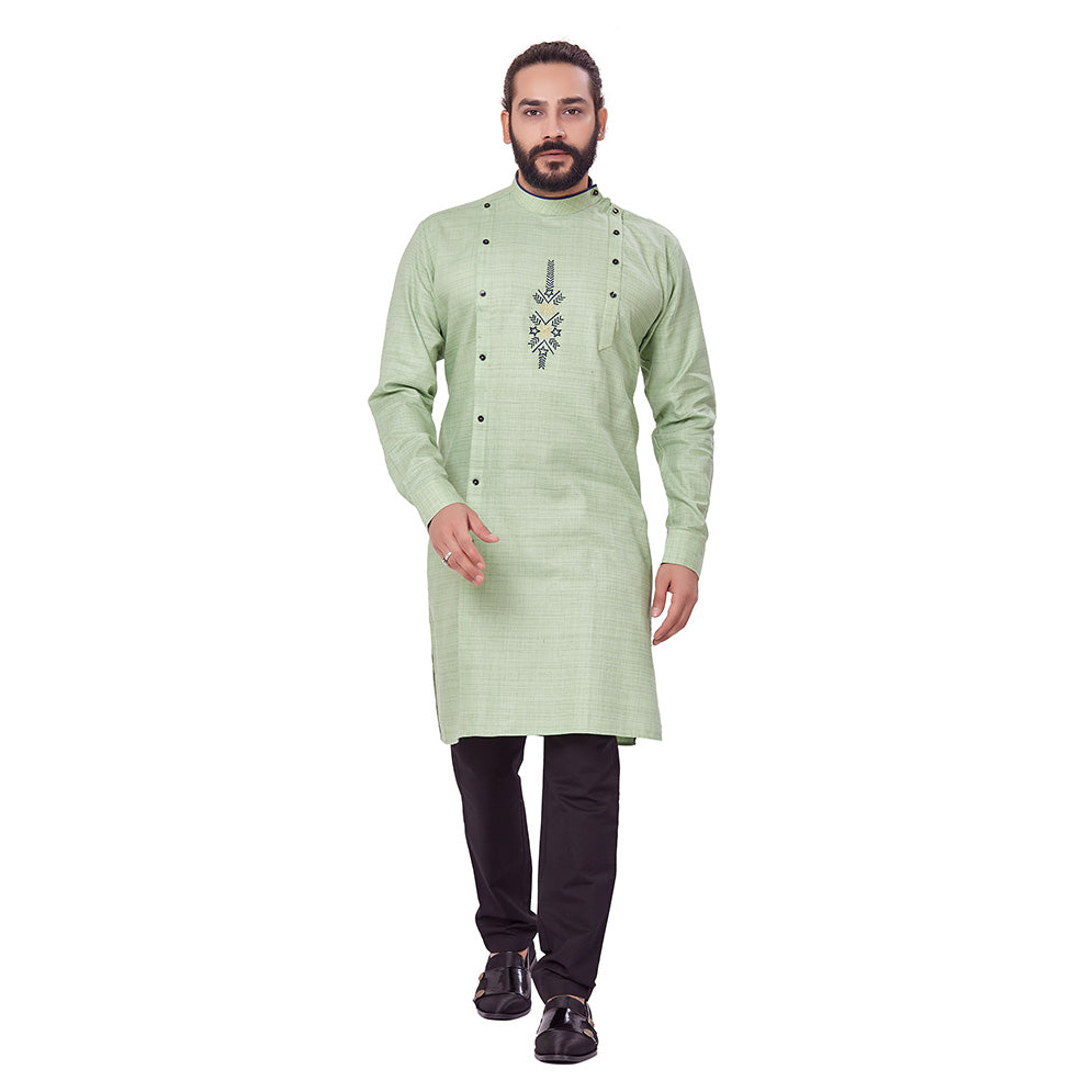 Ajay Arvindbhai Khatri Men's Pure Cotton Regular Embriodery design kurta Pista_Green Colour