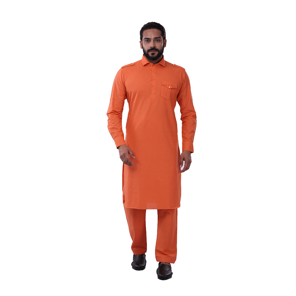 Ajay Arvindbhai Khatri Men's Pure Cotton Regular Pathani Suit Set ORANGE Colour