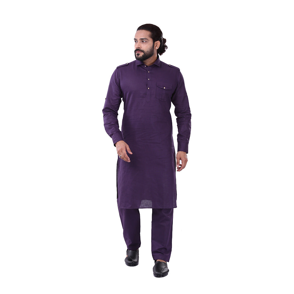 Ajay Arvindbhai Khatri Men's Pure Cotton Regular Pathani Suit Set PURPLE Colour