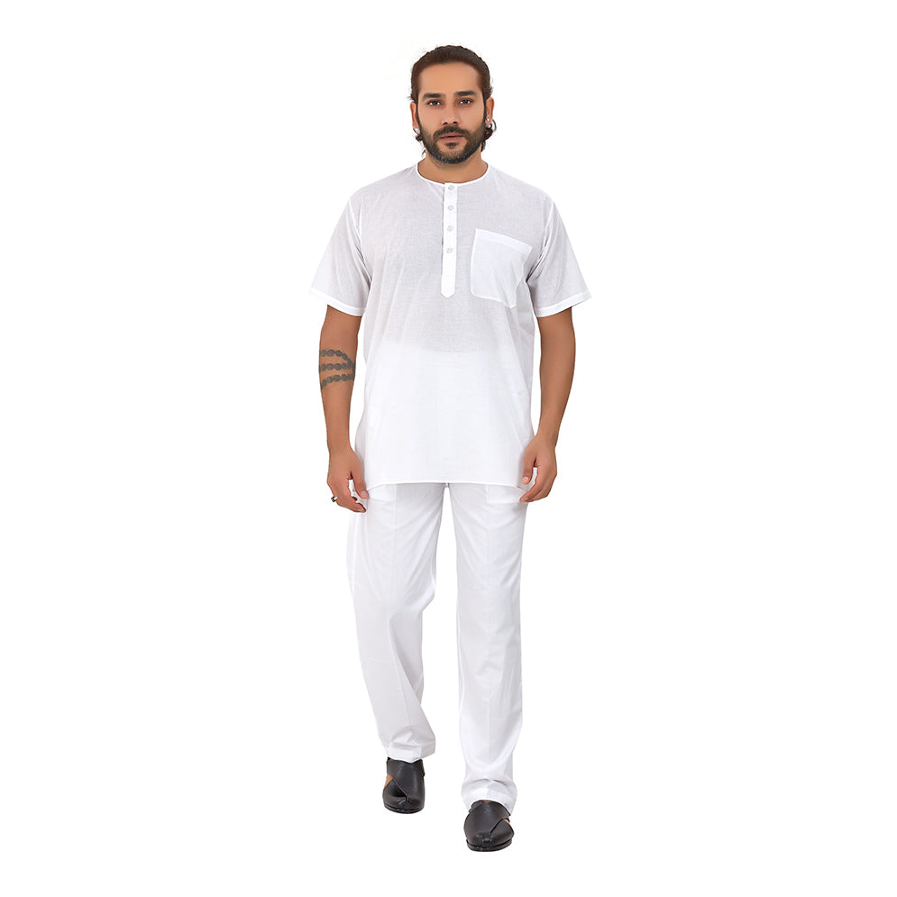 Ajay Arvindbhai Khatri Men's Pure Cotton Regular Night Wear Kurta Round Collar (Half Sleeves)