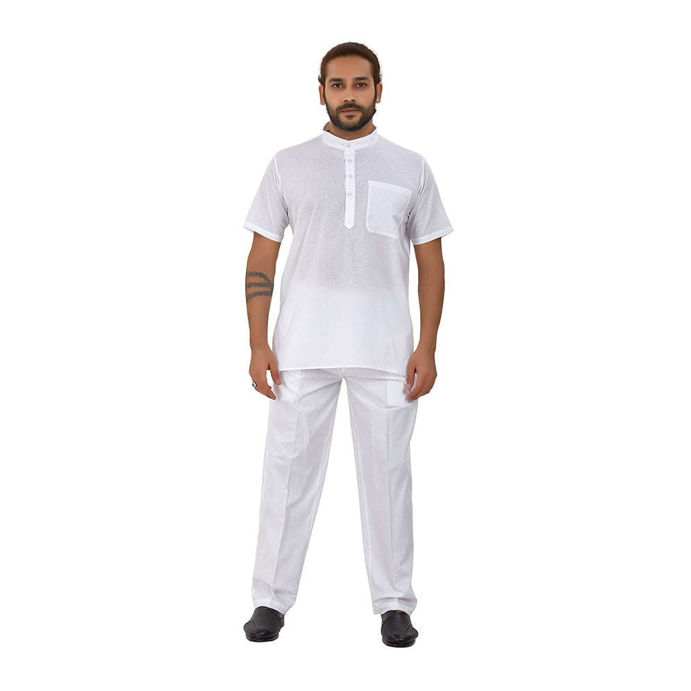 Ajay Arvindbhai Khatri Men's Pure Cotton Regular Night Wear Kurta Close Collar (Half Sleeves)