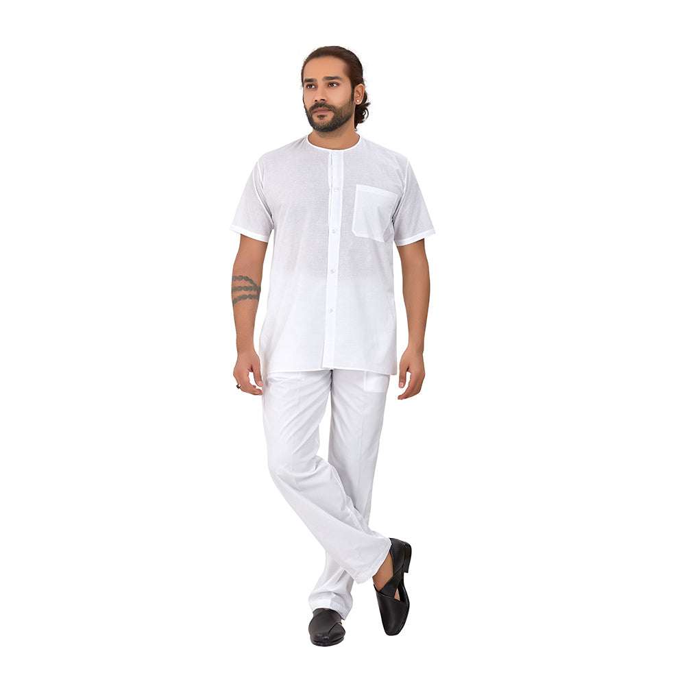 Ajay Arvindbhai Khatri Men's Pure Cotton Regular Night wear kurta white Colour