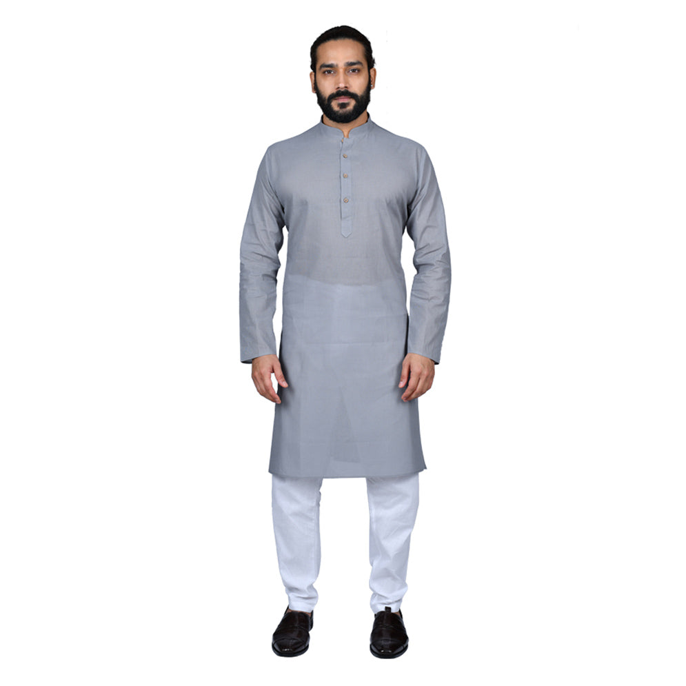 Ajay Arvindbhai Khatri Men's Pure Cotton Regular Handloom Kurta Grey Colour