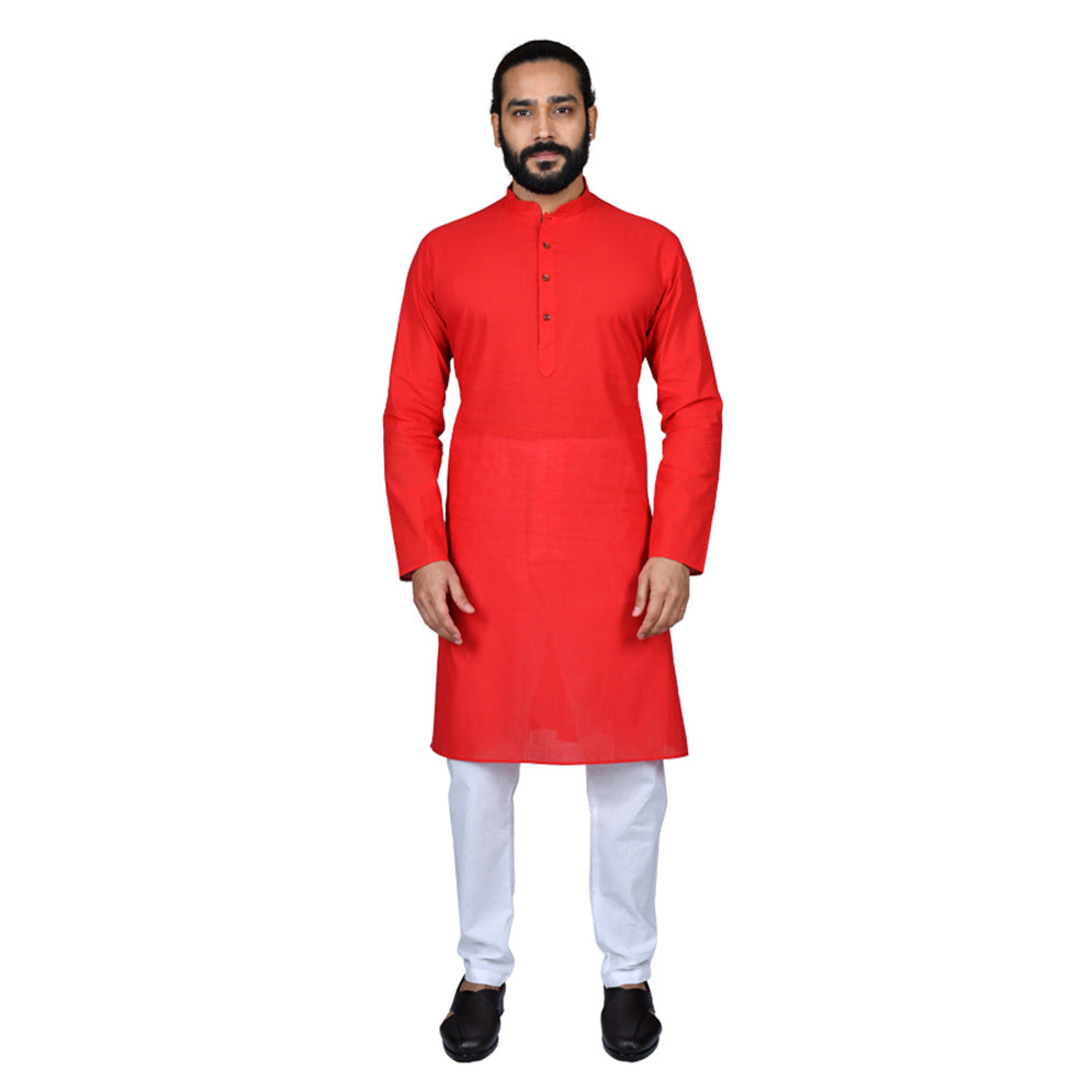 Ajay Arvindbhai Khatri Men's Pure Cotton Straight HandloomRed Colour Kurta