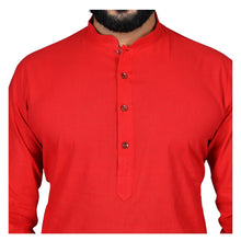 Load image into Gallery viewer, Ajay Arvindbhai Khatri Men's Pure Cotton Straight HandloomRed Colour Kurta
