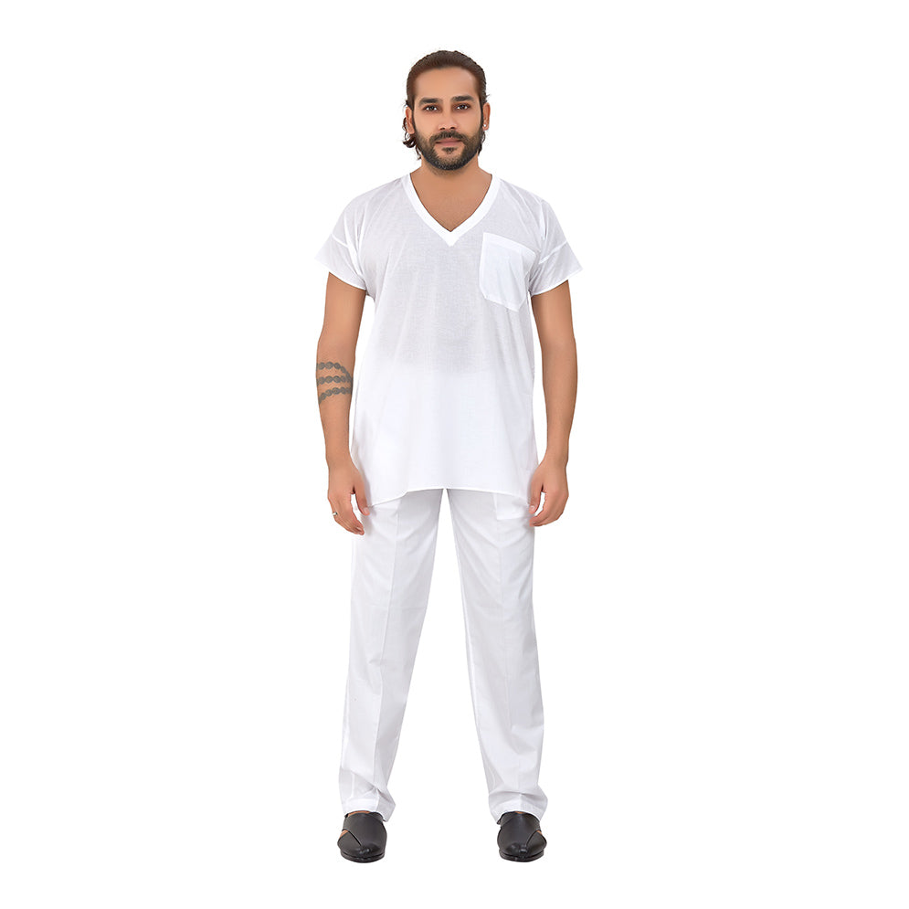 Ajay Arvindbhai Khatri Men's Pure Cotton Regular Parsi Night Wear Kurta White Colour