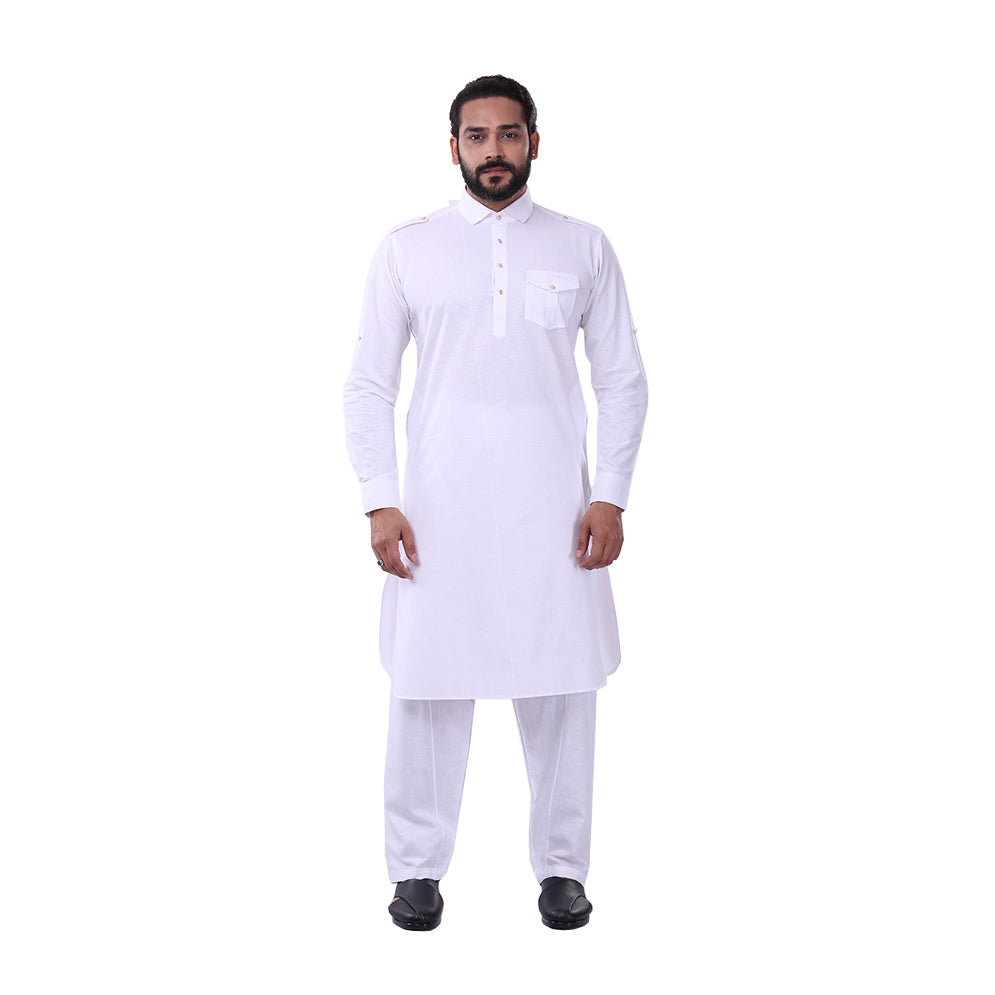 Ajay Arvindbhai Khatri Men's Pure Cotton Regular Pathani Suit Set WHITE Colour