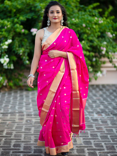 Jewel Pink Silk Chanderi Saree