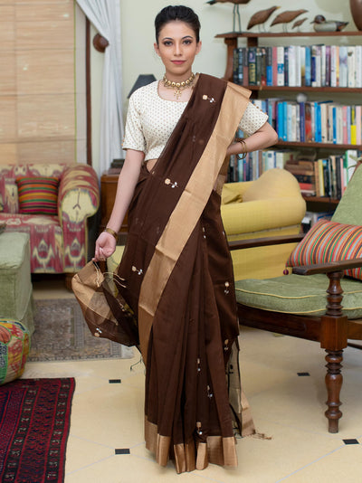 Horse Brown Cotton Silk Chanderi Saree