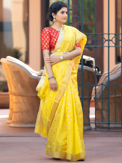 Chrome Yellow Silk Chanderi Saree